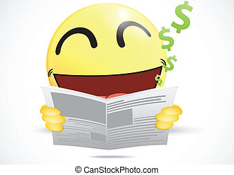 Happy Emoticon reading a business n
