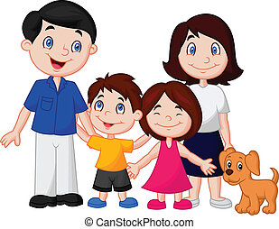 Vector illustration of Happy family cartoon