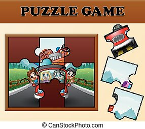 Happy family traveling with puzzle concept