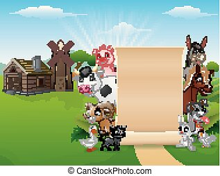 Happy farm animals with a blank sign paper