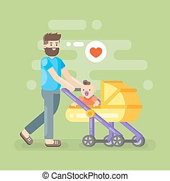 Vector illustration of happy father caring his kid