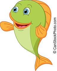 Happy fish cartoon presenting - Vector Illustration of Happy...