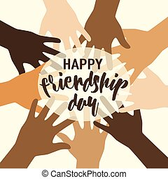 Vector illustration of happy friendship day felicitation in...