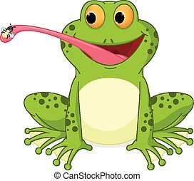 Happy frog cartoon catching fly