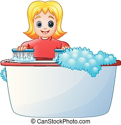 Happy girl cleaning bathtub on a white background