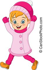 Happy girl in pink winter clothes walking