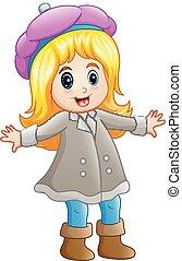 Happy girl in winter clothe