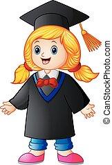 Happy graduation girl cartoon