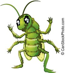 Happy grasshopper cartoon waving hand
