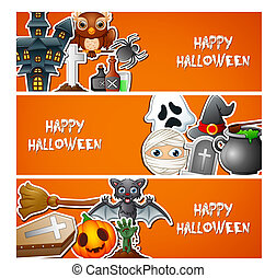 Happy Halloween banner with cute stickers