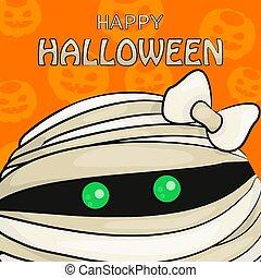 Vector Illustration of Happy Halloween with Mummy's Head