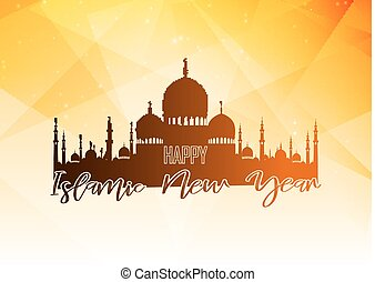Happy islamic new year with silhouette mosque on polygonal background