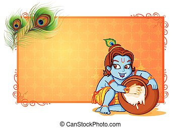 Happy Janmashtami wallpaper background - vector illustration...