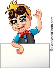 Happy kid cartoon holding blank sign