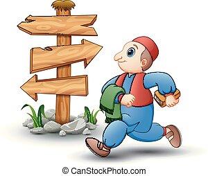 Happy kid cartoon walking with blank wood arrow sign