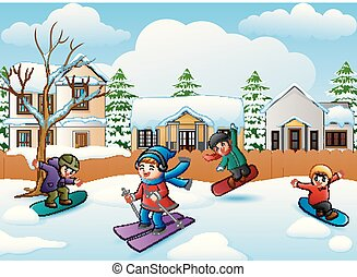 Happy kid playing snowboard in the snowing village - Vector...