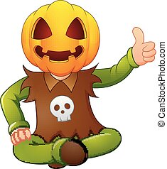Happy kid wearing pumpkin mask giving thumb up
