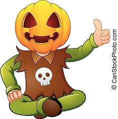 Happy kid wearing pumpkin mask giving thumb up