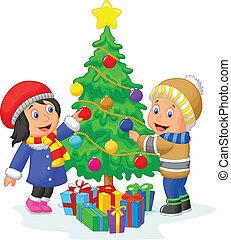 Happy kids cartoon decorating a Chr