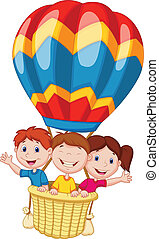 Happy kids cartoon riding a hot air - Vector illustration of...
