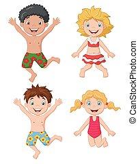 Happy kids cartoon wearing swimsui