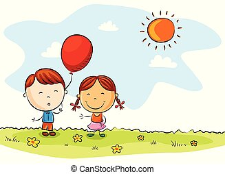 Happy kids cartoon with balloons on a summer day