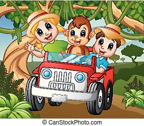 Happy kids driving a car with a monkey in the forest