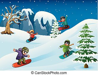 Happy kids in warm clothes snowboarding downhill - Vector...