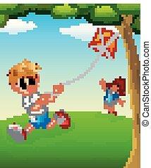 Happy kids playing kite