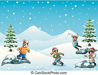 Happy kids playing snowball - Vector illustration of Happy...