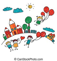 Vector illustration of happy kids. - Vector illustration of...