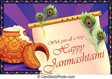 Happy Krishna Janmashtami background with pot of cream