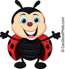 Happy ladybug cartoon - Vector illustration of Happy ladybug...