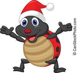 Happy ladybug cartoon wearing red h