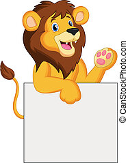 Happy lion cartoon holding blank si - Vector illustration of...