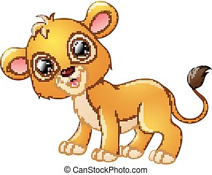 Happy lion cartoon isolated on white background