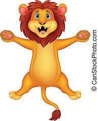 Happy lion cartoon jumping
