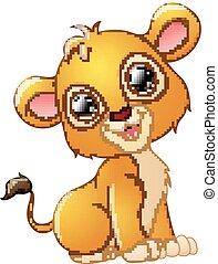 Happy lion cartoon sitting isolated on white background