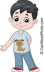 Happy little boy cartoon - Vector illustration of Happy ...