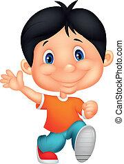 Happy little boy cartoon