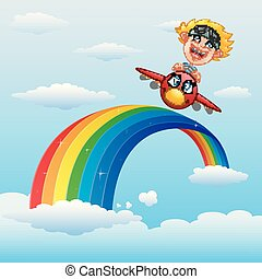 Happy little boy riding a plane in near rainbow