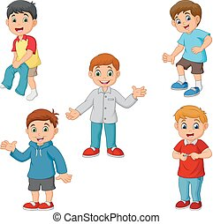 Happy little boys with different activities - Vector ...