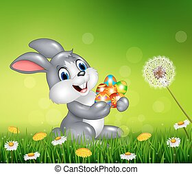Happy little bunny with colorful
