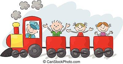 Happy little kids cartoon on a colo