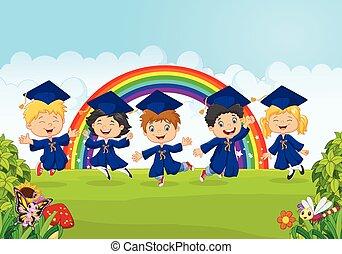 Happy little kids celebrate