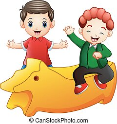 Happy little two kids with a yellow toy isolated on white background