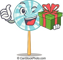 Vector illustration of happy lollipop with gift box