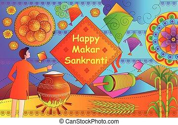 Happy Makar Sankranti festival celebration background - ...