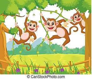 happy monkey cartoon playing in the forest