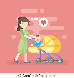 Vector illustration of happy mother caring her kid